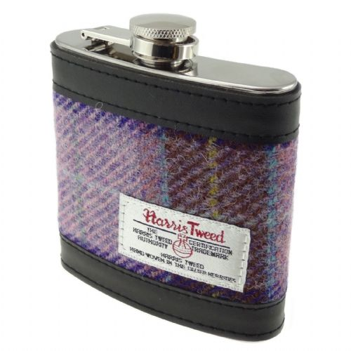 Harris Tweed Hip Flask - Pink